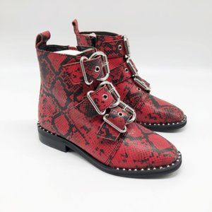 STEVE MADDEN Recharge Red Snake Print Bootie